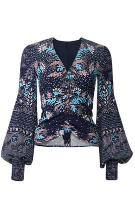 Printed Waffle Ruched Blouse by Peter Pilotto