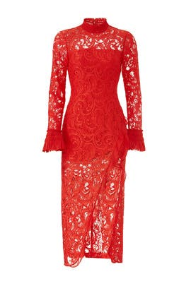 Red Fala Lace Dress by Alexis