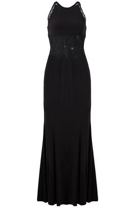Black Mesh Insert Gown by LM Collection