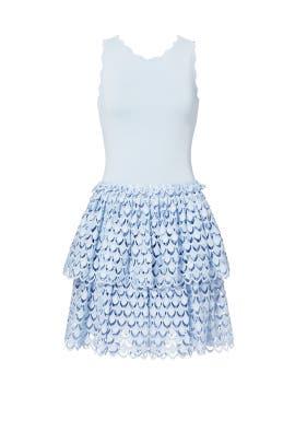 Blue Tiered Eyelet Dress by Antonio Berardi