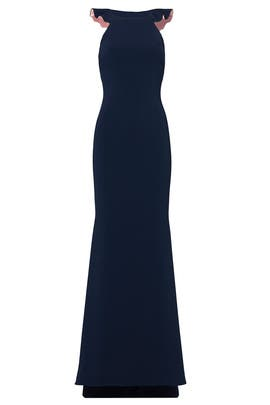 Navy Sleek Ruffle Gown by Badgley Mischka