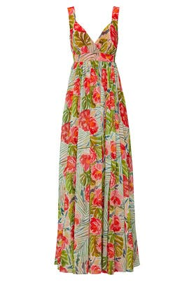Green Floral Maxi Gown by Badgley Mischka