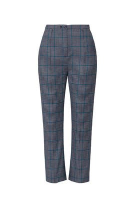 Glen Plaid High Buckle Back Trousers by Jonathan Simkhai