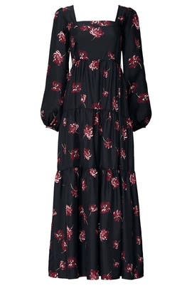 Black Floral Tiered Dress by Nicholas