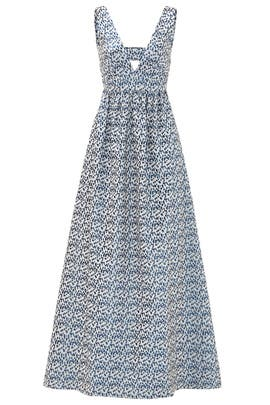 Blue Printed Jacquard Gown by Nicole Miller