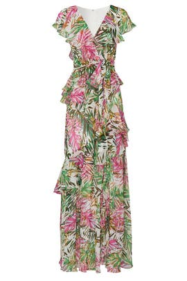 Multi Palm Ruffle Maxi by Badgley Mischka