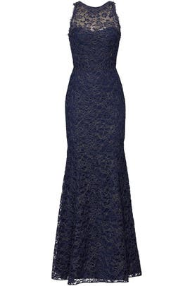 9ad861008be Navy Metallic Lace Gown by Marchesa Notte for $165 - $180 | Rent the Runway