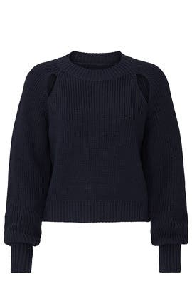 Navy Slash Shoulder Sweater by VOX LUX