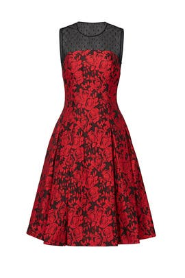 88e011645cd7 Burning Red Florals Dress by Carmen Marc Valvo