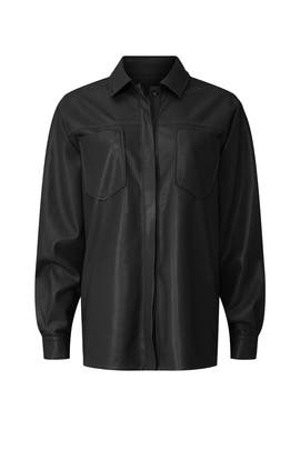 Faux Leather Split Back Shirt by GOOD AMERICAN