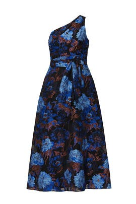 Blue Floral One Shoulder Dress by Aidan Mattox
