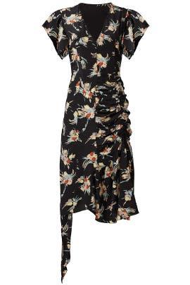 Black Printed Asymmetrical Dress by Marni