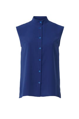 Blue Button Down Top by Mossi