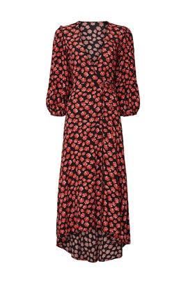 Printed Midi Wrap Dress by GANNI