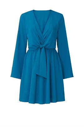Turquoise Stretch Tie Front Dress by Great Jones