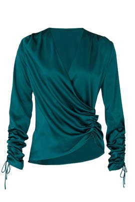 Green Asymmetric Blouse by Jonathan Simkhai