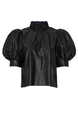 Black Faux Leather Stella Top by Hunter Bell