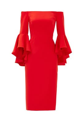 Flame Red Selena Slit Dress by Milly