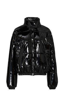 Shiny Black Puffer Jacket by RTR NOW