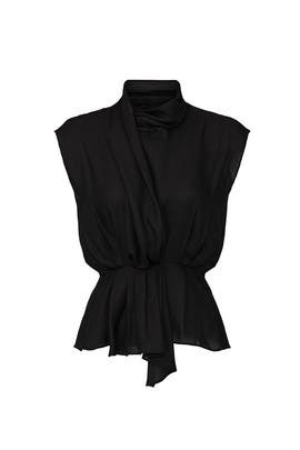 Black Sash Front Blouse by Tome