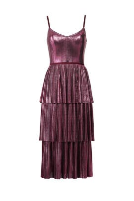 29a5bd8ff8c Lilac Pleated Lame Dress by Marchesa Notte