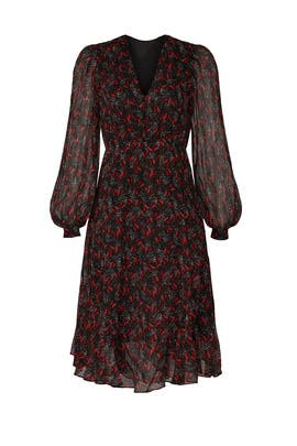 Red Floral Long Sleeve Dress by PINKO