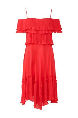 Red Pleated Ruffle Dress by HALSTON
