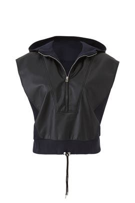 Sleeveless Faux Leather Sweatshirt by Cedric Charlier