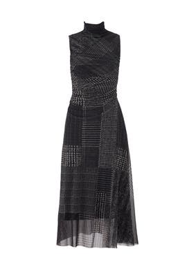 Grey Weave Printed Dress by Fuzzi