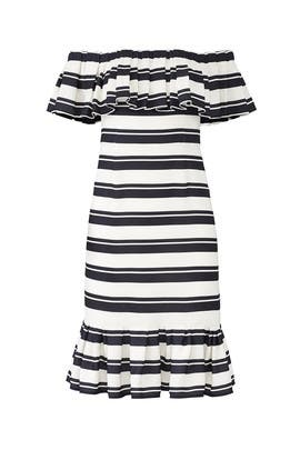 Stripe Flounce Dress by HALSTON
