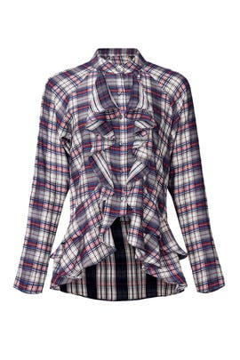 Plaid Downtown Ruffle Blouse by Nicole Miller