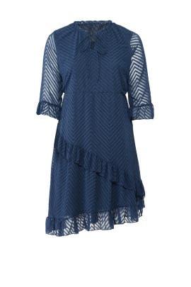 Blue Chevron Ruffle Dress by JUNAROSE