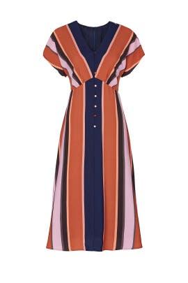 Multi Stripe Button Front Dress by Louna