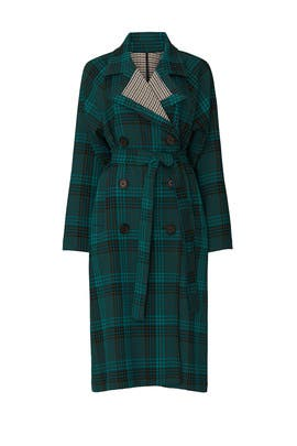 Multi Green Plaid Coat by See by Chloe