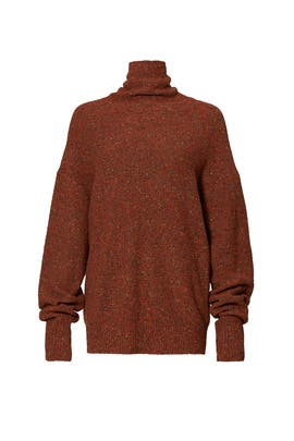 Terracotta Tweed Oversized Sweater by Tibi