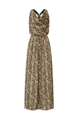 Printed Cowl Neck Maxi by Great Jones