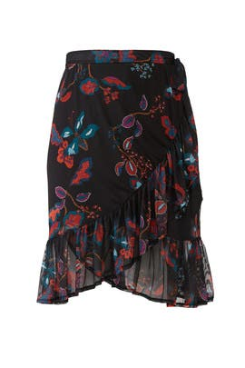 Flower Printed Mesh Skirt by JUNAROSE