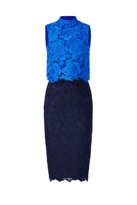 Blue Sweetheart Colorblock Sheath by ML Monique Lhuillier