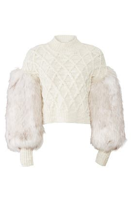 Cable And Faux Fur Sweater by Philosophy di Lorenzo Serafini