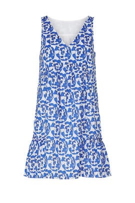 Blue Printed Ruffle Dress by Thakoon Collective
