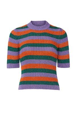 Stripe Lurex Knit Sweater by GANNI
