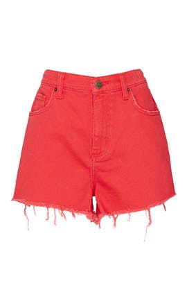Red Cut Off Shorts by LEE