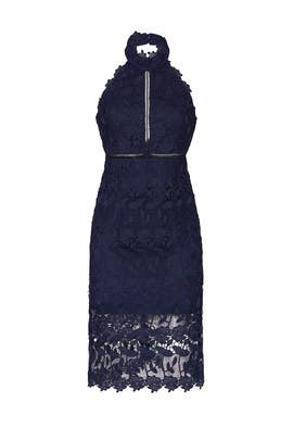 Navy Noni Halter Dress by BARDOT