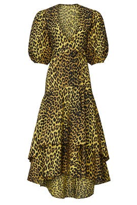 Cheetah Printed Wrap Dress by GANNI