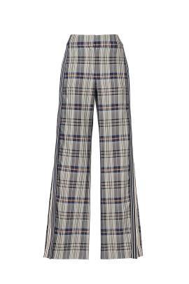 Racing Stripe Vintage Plaid Pants by MONSE