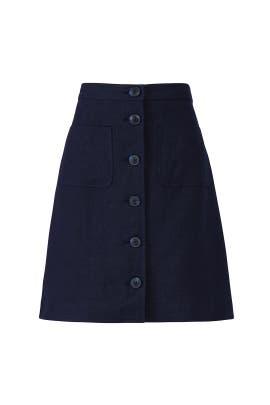 Linen Button Front Skirt by Tory Burch