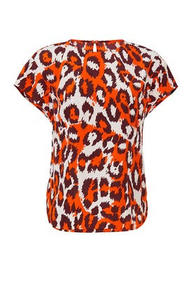 Orange Leopard Nellie Top by Diane von Furstenberg