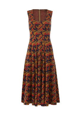 Camel Multi Sleeveless Dress by DEREK LAM