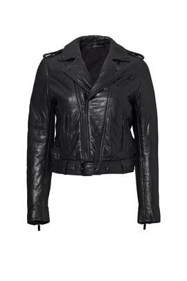 Black Leather Belted Moto Jacket by The Kooples