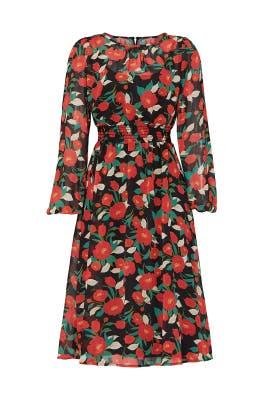 Floral Crew Neck Midi Dress  by Louna